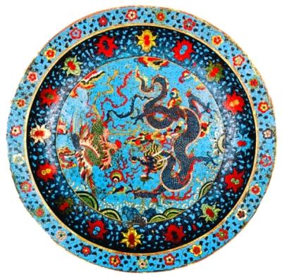 清代掐丝珐琅龙凤戏珠纹盘