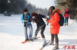 台湾学生长春体验滑雪